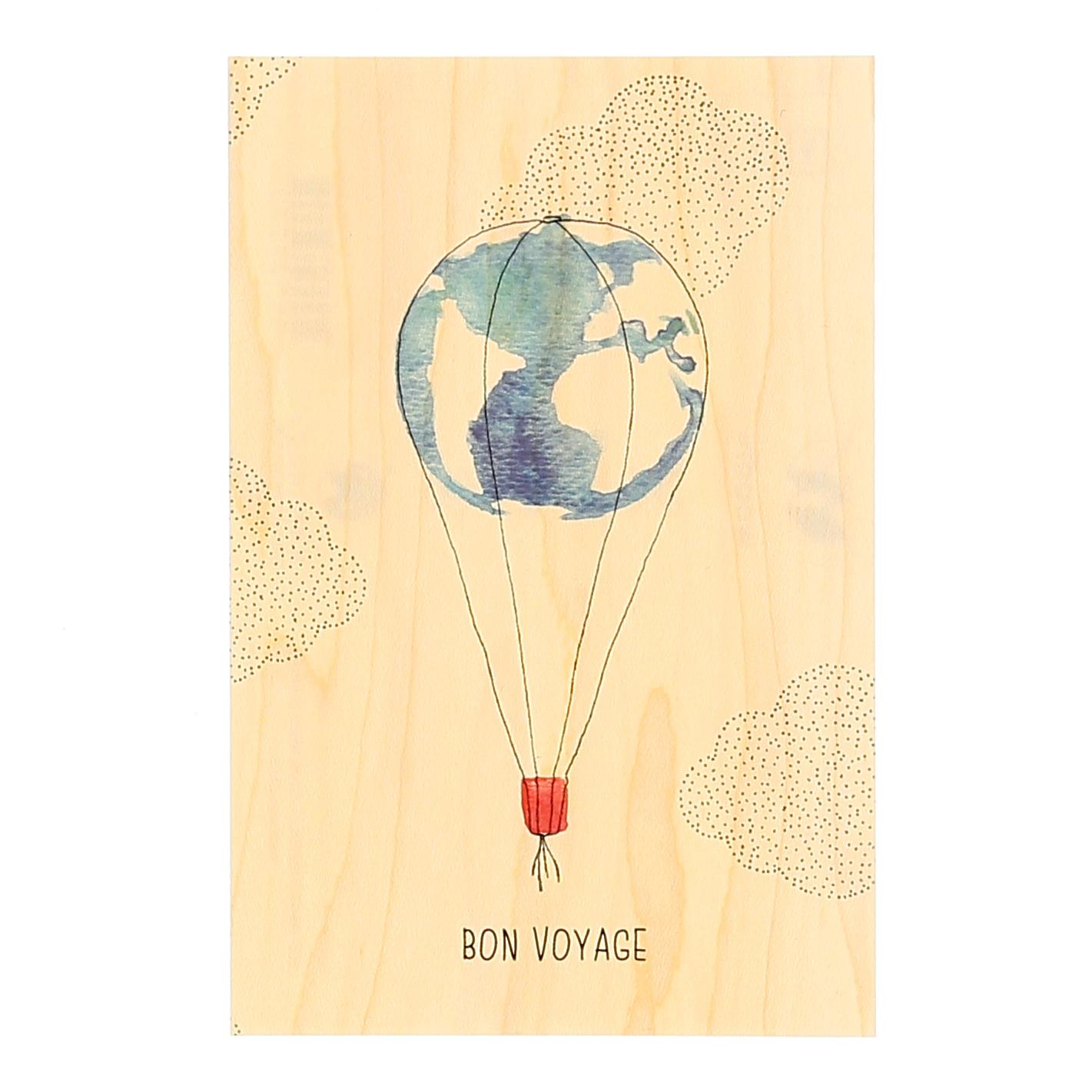 Carte en bois Bon voyage   Nature & Découvertes