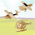 3 maquettes d'aviation animées