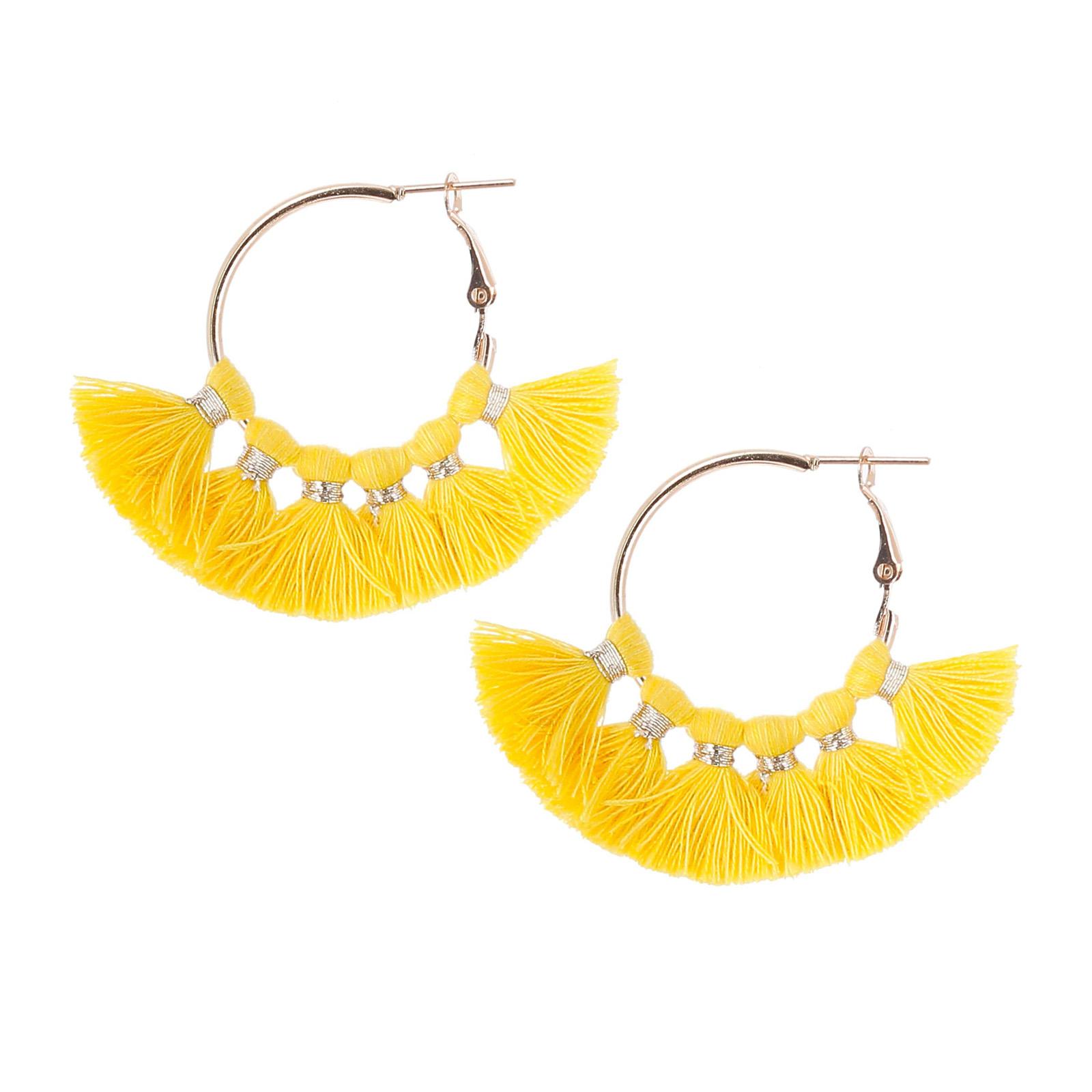 boucle d'oreille pompon jaune