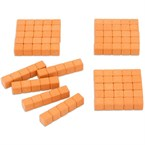 20 barres de 5 - base 10 en bois orange