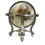 Globe terrestre 22cm 3 pieds acier blanc