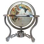 Globe terrestre 15cm 3 pieds acier blanc