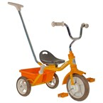 Tricycle orange avec canne et benne
