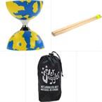Diabolo jester a roulements bleu/jaune