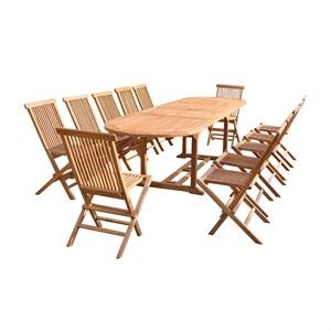 Salon de jardin teck huilé 12 chaises | Nature & Découvertes