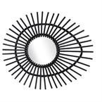 Miroir en rotin laqué noir ellipse