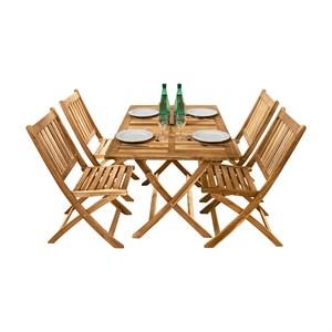 Salon de jardin en acacia 4 chaises