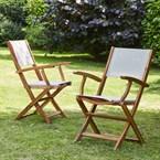 Lots de 2 fauteuils acacia et textilène
