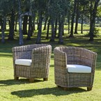 Lot de 2 fauteuils de jardin ronds en ku