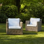 Lot de 2 fauteuils de jardin en kubu nat