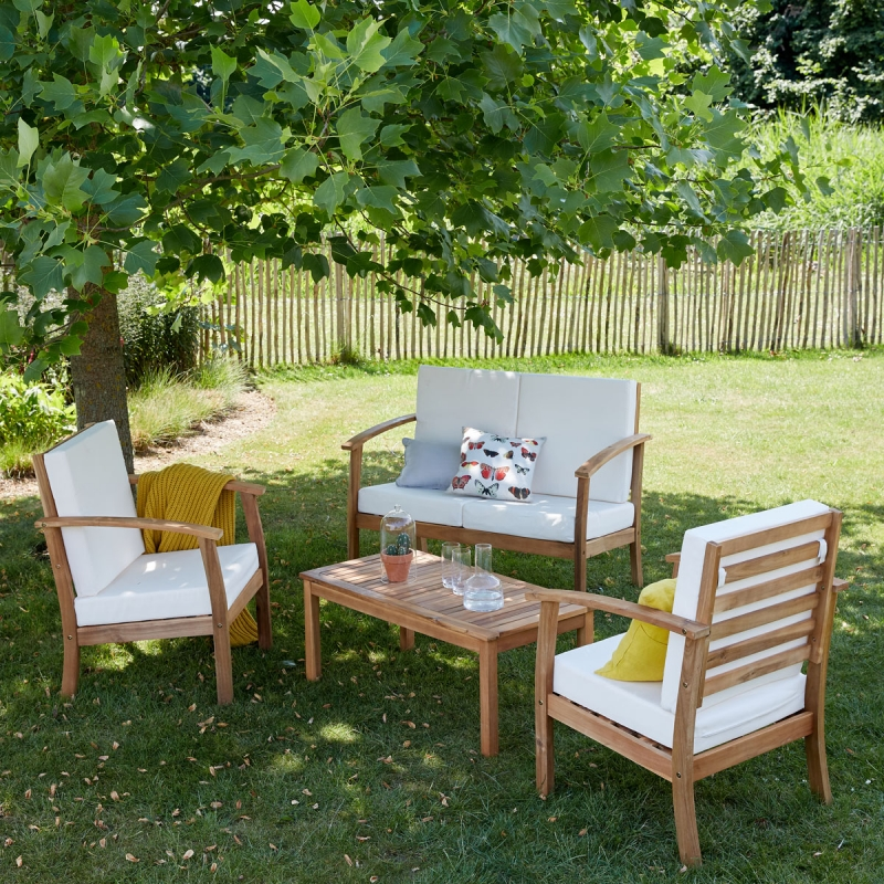 Salon de jardin détente acacia 4 places | Nature & Découvertes