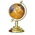 Globe terrestre 8cm cuivre pied doré