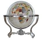 Globe terrestre 33cm 3 pieds blanc