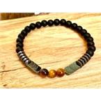 Bracelet onyx hématite et oeil de tigre