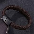 Bracelet cuir véritable et d'acier