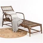 Chaise longue vintage en rotin moka