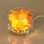 Lampe de sel - socle bois et verre
