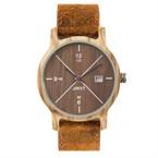 Montre en bois come bracelet cuir