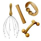Kit de massage 4 pièces en bois