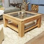Table basse vitrée en bois de teck