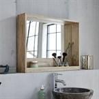 Miroir avec rangement bois d'hévéa 80