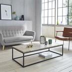 Table basse en bois d'hévéa et métal