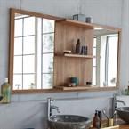 Miroir en bois de teck 3 étagères 160