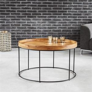 Table Basse Ronde Bois Teck Et Métal